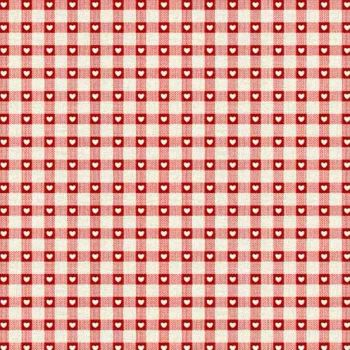 Makower UK - Scandi 4 Checkered Hearts in Red, per fat quarter
