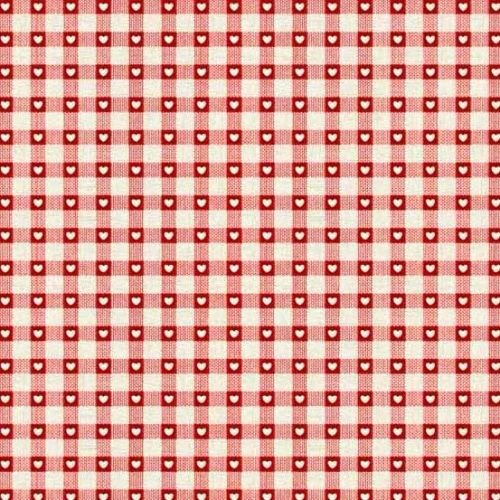 <!--9062-->Makower UK - 2017 Scandi 4 Checkered Hearts in Red, per fat quar