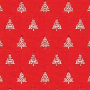 Makower UK - Scandi 4 Trees in Red, per fat quarter   ***WAS £2.65***