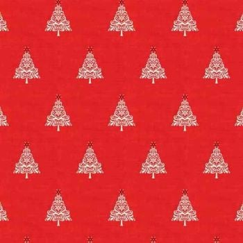 Makower UK - 2017 Scandi 4 Trees Hearts in Red, per fat quarter