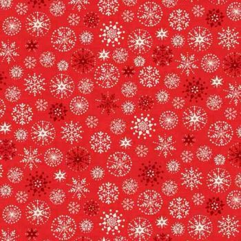 Makower UK - 2017 Scandi 4 Snowflakes in Red, per fat quarter