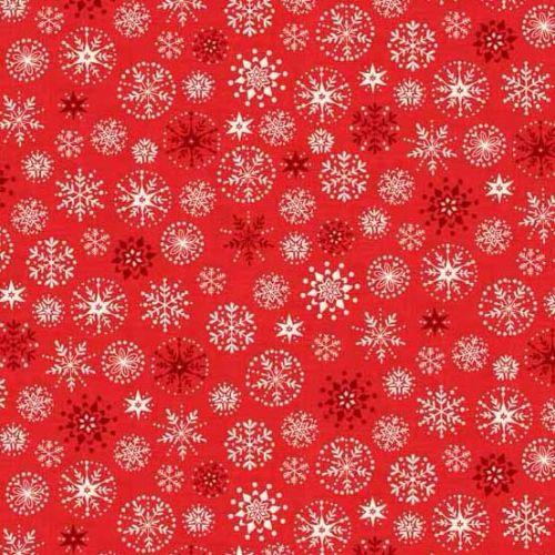 <!--9065-->Makower UK - 2017 Scandi 4 Snowflakes in Red, per fat quarter