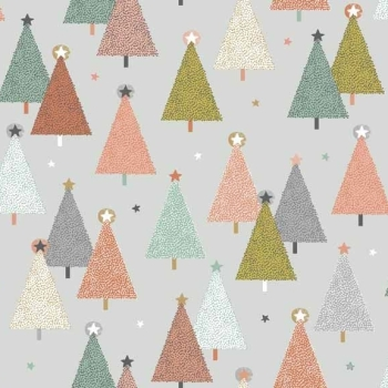 Makower UK - Modern Metallic Trees In Grey, per fat quarter