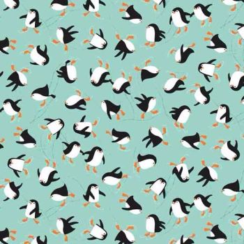 Makower UK - Novelty Penguins In Turquoise, per fat quarter