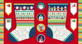 Makower UK - Novelty Mini Stocking Advent Panel, per panel