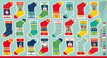 Makower UK - Novelty Mini Stocking Advent Panel, per fat quarter