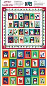 Makower UK - Novelty Square Advent Panel, per fat quarter