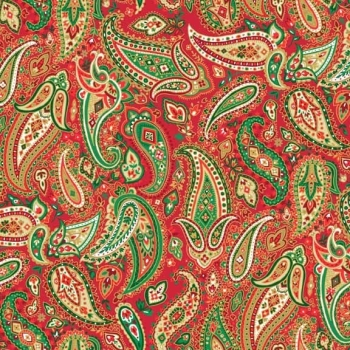 Makower UK - Traditional Metallic Paisley in Red, per fat quarter