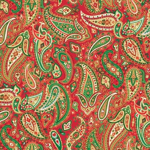 <!--9048-->Makower UK - Traditional Metallic Pailey in Red, per fat quarter