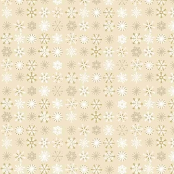 Makower UK - Traditional Metallic Snowflakes In Cream, per fat quarter