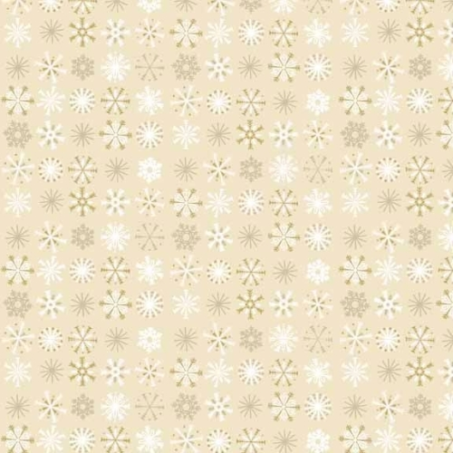 <!--9049-->Makower UK - Traditional Metallic Snowflakes In Cream, per fat q