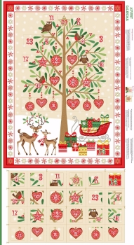 Makower UK - Traditional Metallic Tree Advent Panel, per fat quarter