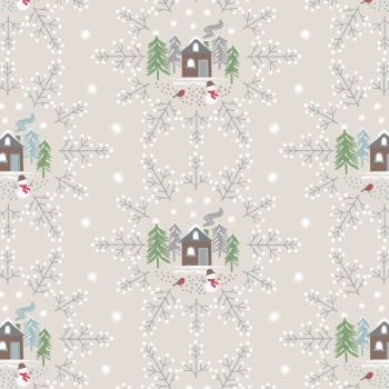Lewis & Irene - A Countryside Christmas - Snowflake Scene on Cream, per fat quarter