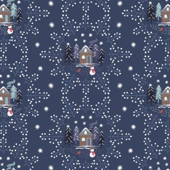 Lewis & Irene - A Countryside Christmas - Snowflake Scene on Midnight Blue, per fat quarter