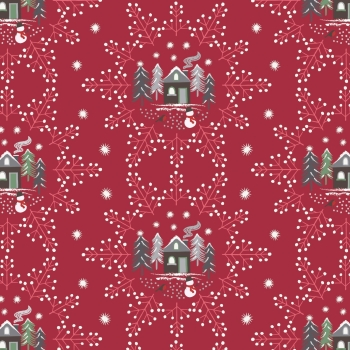 Lewis & Irene - A Countryside Christmas - Snowflake Scene on Wine, per fat quarter