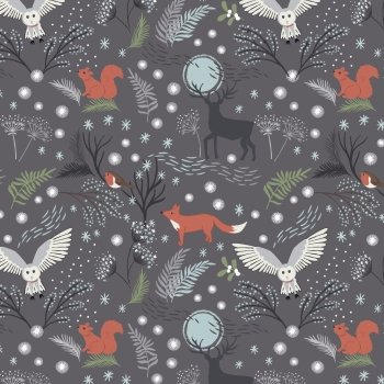 Lewis & Irene - A Countryside Christmas - Winter Animals on Grey, per fat quarter