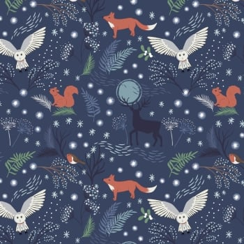 Lewis & Irene - A Countryside Christmas - Winter Animals on Midnight Blue, per fat quarter
