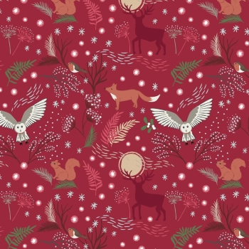 Lewis & Irene - A Countryside Christmas - Winter Animals on Wine, per fat quarter