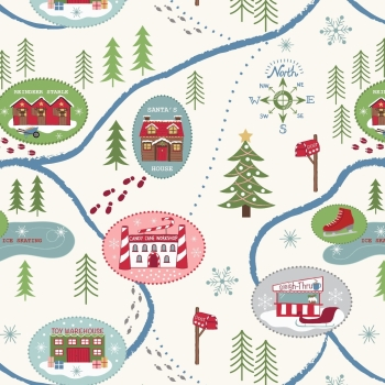 Lewis & Irene - North Pole - Santa Map on Snow, per fat quarter
