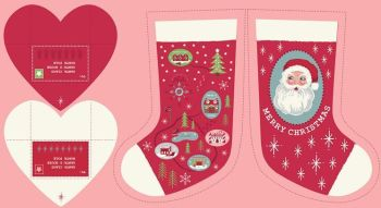Lewis & Irene - North Pole - Red Stocking Panel, per panel  ***WAS £7.00***