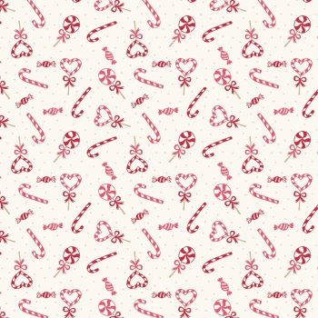 Lewis & Irene - Small Things At Christmas - Candy Canes on Cream, per fat quarter