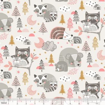 Blend Fabrics - Sweet Dreams - Sleepyheads in Pink, per fat quarter  **WAS £3.00**