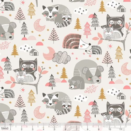 <!--5200-->Blend Fabrics - Sweet Dreams - Sleepyheads in Pink, per fat quar