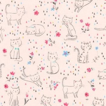 Robert Kaufman - Whiskers & Tails in Pink, per fat quarter