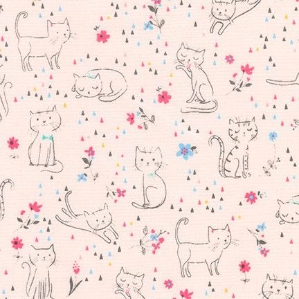 <!--5411-->Robert Kaufman - Whiskers & Tails in Pink, per fat quarter