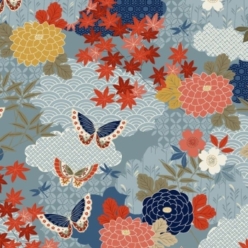 Makower UK - Japanese Garden Montage In Blue, per fat quarter