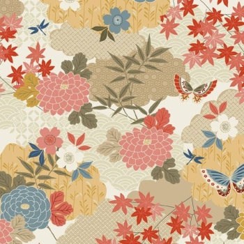 Makower UK - Japanese Garden Montage In Cream, per fat quarter