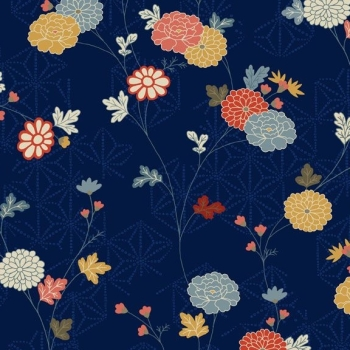 Makower UK - Japanese Garden Floral Vine in Blue, per fat quarter