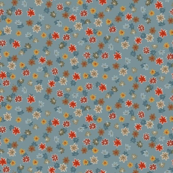 Makower UK - Japanese Garden Maple Leaf in Blue, per fat quarter