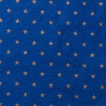 Wool Blend Felt - Stars on Trafalgar Blue, per sheet - Available in 2 sizes  ***WAS £0.40***