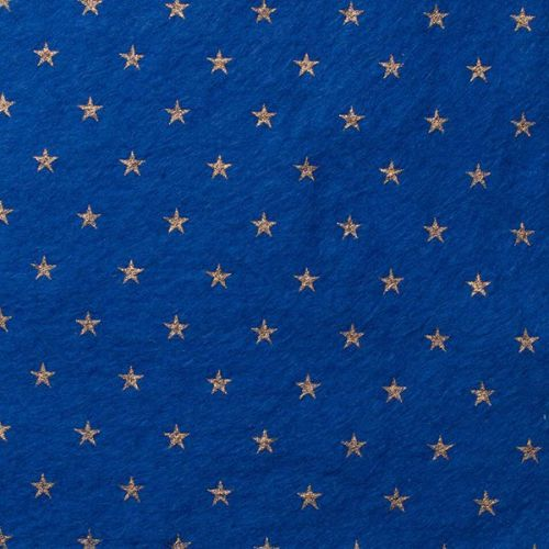 <!--0583-->Wool Blend Felt - Stars on Trafalgar Blue, per sheet - Available