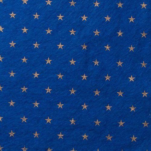 <!--0583-->Wool Blend Felt - Stars on Trafalgar Blue, per sheet - Available