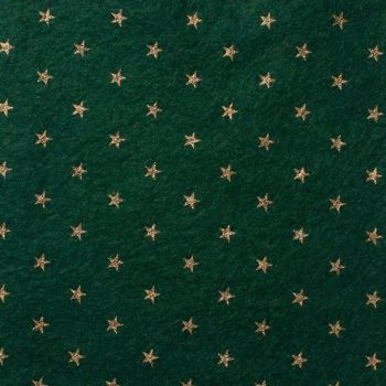 Wool Blend Felt - Stars on Ivy Green, per sheet - Available in 2 sizes  ***WAS £0.40***