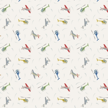 Lewis & Irene - Small Things on the Move Planes on White, per fat quarter