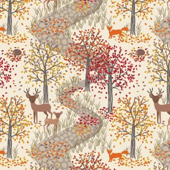 Lewis & Irene - Autumn in Bluebell Wood First Frost, per fat quarter