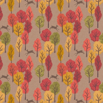 Lewis & Irene - Autumn in Bluebell Wood Leaping Deer On Light Brown, per fat quarter