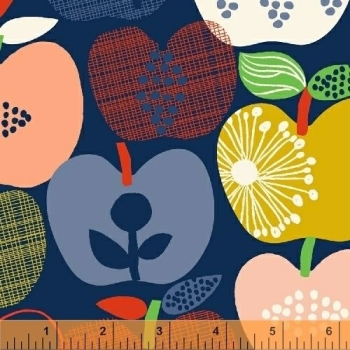 Windham Fabrics - Hand picked in Navy, per fat quarter