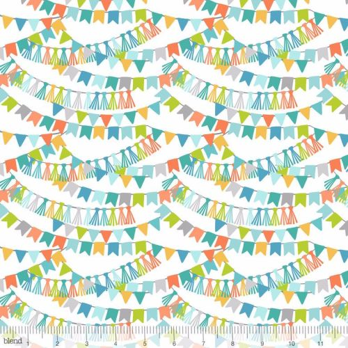 <!--5206-->Blend Fabrics - Calliope - Bannerline in Blue, per fat quarter