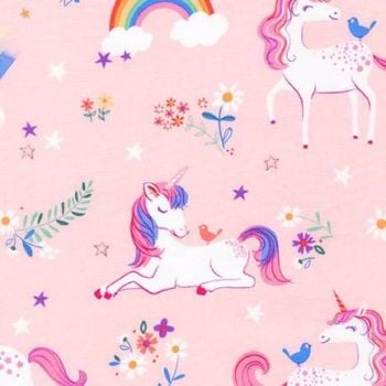 Robert Kaufman - Happy Little Unicorns in Pink, per fat quarter