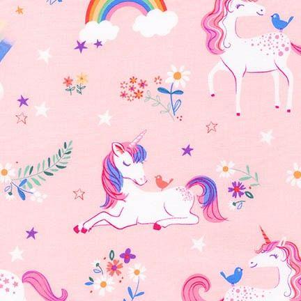 <!--5412-->Robert Kaufman - Happy Little Unicorn in Pink, per fat quarter