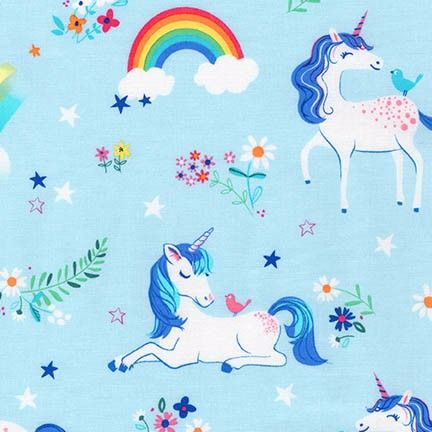 <!--5413-->Robert Kaufman - Happy Little Unicorn in Blue, per fat quarter
