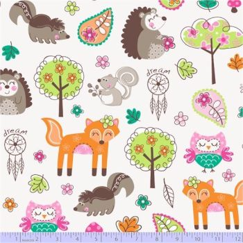 Marcus Fabrics - Woodland Gypsy - Animals on Cream, per fat quarter  ***WAS £3.00***