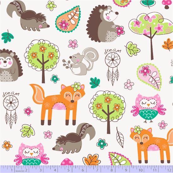 <!--5600-->Marcus Fabrics - Woodland Gypsy - Animals on Cream, per fat quar