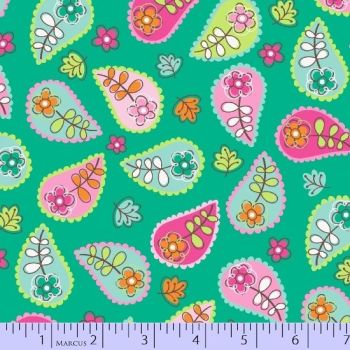 Marcus Fabrics - Woodland Gypsy - Paisley on Turquoise, per fat quarter