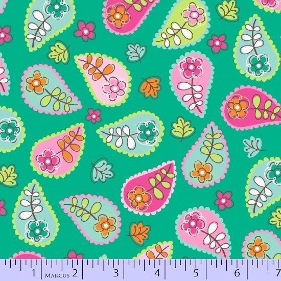 <!--5601-->Marcus Fabrics - Woodland Gypsy - Paisley on Turquoise, per fat