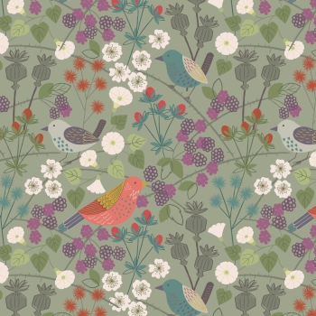 Lewis & Irene - The Hedgerow on Sage, per fat quarter
